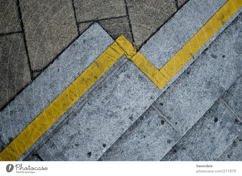Tendency: rising Town Stairs Street Dirty Yellow Gray Sidewalk Asphalt Concrete Diagonal Stone Colour photo Exterior shot Deserted Copy Space left