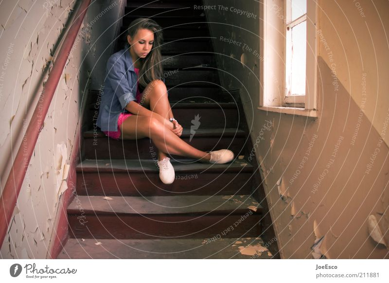 #211881 Lifestyle Living or residing Human being Young woman Youth (Young adults) Woman Adults House (Residential Structure) Detached house Ruin Building Stairs