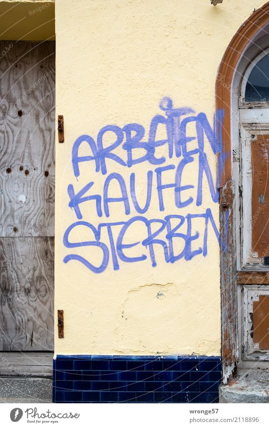 Greifswald thesis Old town Deserted Characters Graffiti Rebellious Town Distress Aggravation Shopping Luxury Multicoloured House wall To talk