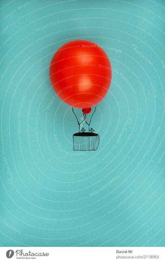 Hot air balloon flies through the air hot-air balloon Flying Balloon Freedom Hover travel Adventurer Sky Enthusiasm Bliss