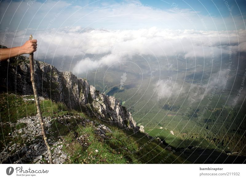 Nature Sky Clouds Far-off places Relaxation Mountain Landscape Arm Hiking Rock Vantage point Alps Infinity Peak Valley