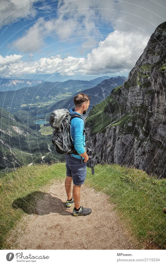 on the mangart Leisure and hobbies Hiking Sports Climbing Mountaineering Success Human being Masculine Man Adults 1 Environment Landscape Rock Alps Peak Canyon