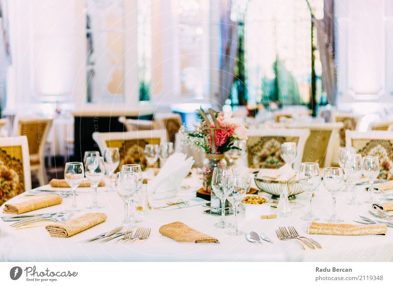 Beautiful Decorated Wedding Restaurant Table Setting Colour White Dish Eating Lifestyle Emotions Style Food Party Feasts & Celebrations Design Room Nutrition