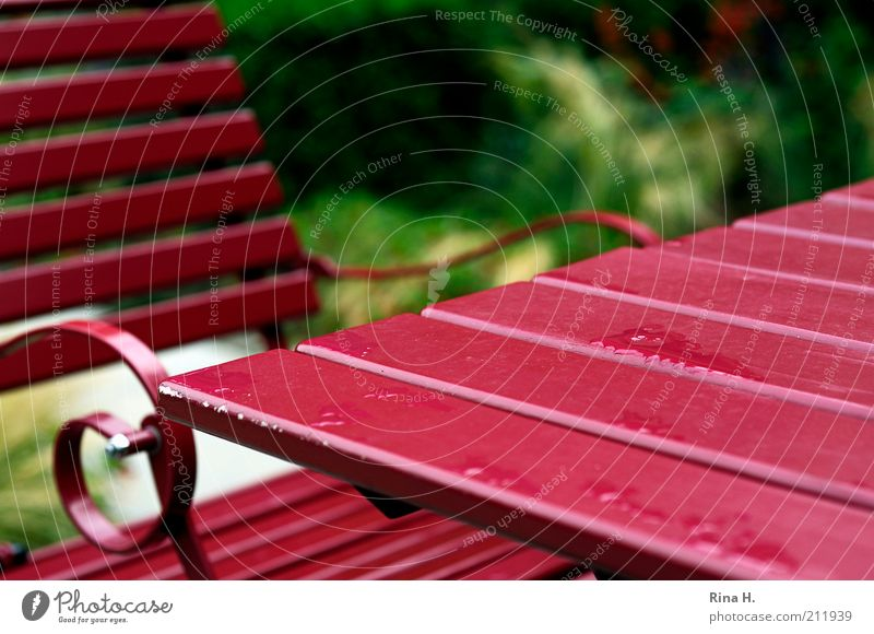 summer rain Garden Chair Table Terrace Wet Red Rain Colour photo Exterior shot Deserted Copy Space right Shallow depth of field Empty Calm Resting point