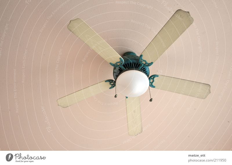 Nostalgia wind from the ceiling with light Decoration Lamp Fan Skylight Air Climate Wind Rotate Old Design Wood Colour photo Interior shot Deserted