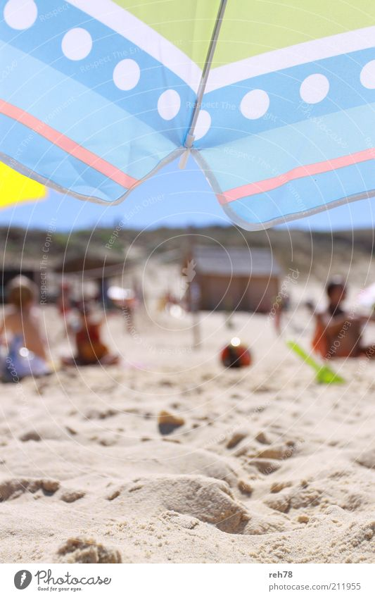 Blue Summer Beach Vacation & Travel Yellow Playing Sand Warmth Landscape Trip Lifestyle Tourism Leisure and hobbies Discover Sunshade