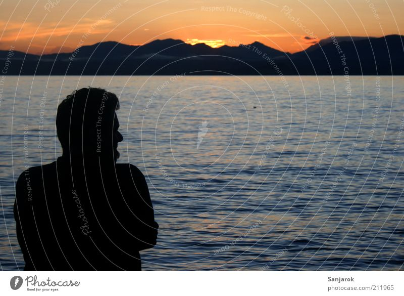 Longing in Italian Far-off places Freedom Summer Human being Masculine Man Adults Male senior 1 Water Sunrise Sunset Lake Lake Garda Think To enjoy Emotions