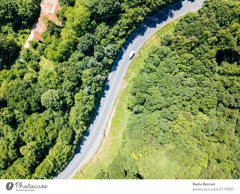 Aerial View Of Road Running Through Carpathian Mountains Forest Nature Vacation & Travel Summer Colour Beautiful Green Tree Landscape Street Environment