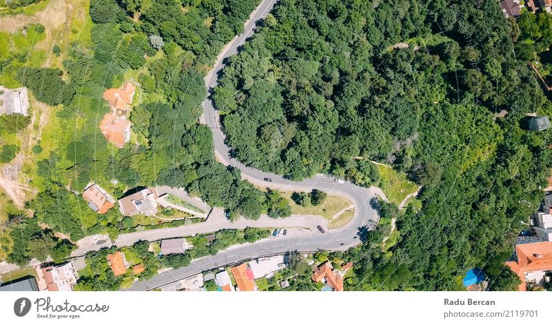 Aerial View Of Road Running Through Carpathian Mountains Forest Nature Vacation & Travel Summer Town Colour Beautiful Green Landscape Tree
