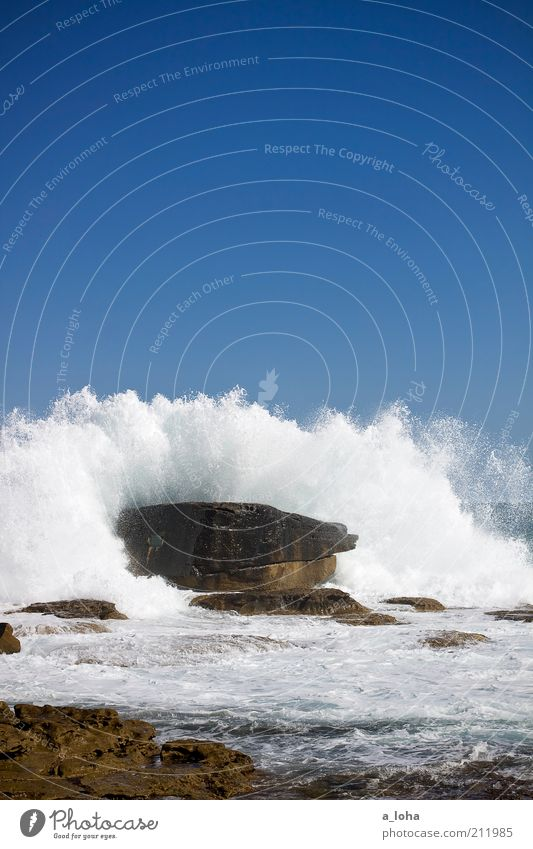 Water Ocean Blue Summer Beach Movement Power Coast Waves Wet Large Rock Tall Wild Elements Beautiful weather