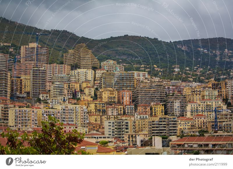 City Clouds Building Architecture Concrete High-rise Travel photography Skyline Narrow Downtown Capital city Bad weather Port City Monaco Monte Carlo