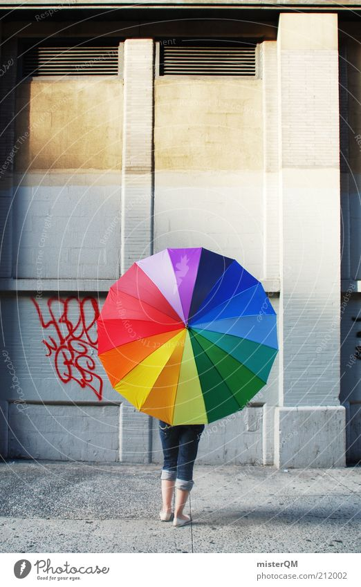 Woman Youth (Young adults) Graffiti Facade Lifestyle Perspective Modern Esthetic Jeans Round To go for a walk Protection Umbrella Multicoloured Sidewalk