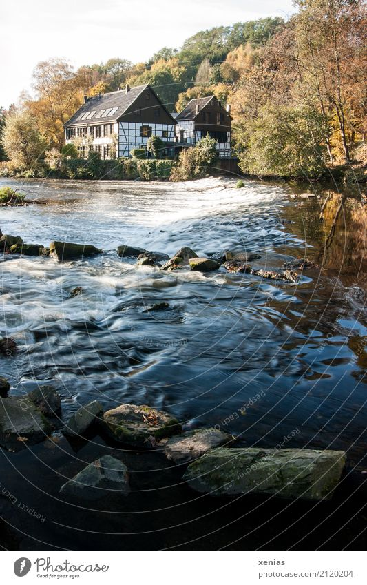 Relaxation House (Residential Structure) Autumn Stone Tourism Trip Hiking Waves River River bank Museum Current Hydroelectric  power plant Half-timbered house