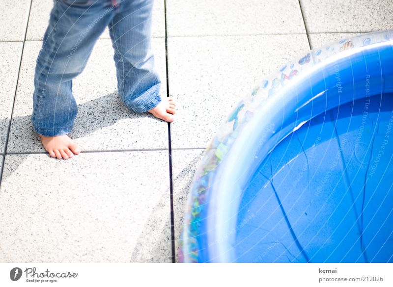 Human being Child Water Blue Girl Summer Warmth Legs Feet Infancy Leisure and hobbies Living or residing Jeans Hot Toddler Tile