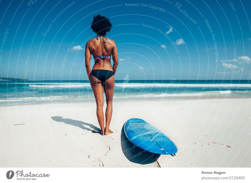 Surfer girl on the white sand beach Young woman Youth (Young adults) 1 Human being 18 - 30 years Adults Discover Fitness Vacation & Travel Wait Power Might