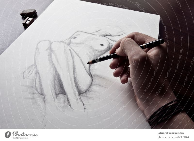 Human being Hand Nude photography Art Work and employment Masculine Fingers Paper Culture Model Creativity Draw Artist Conceptual design Painter Drawing