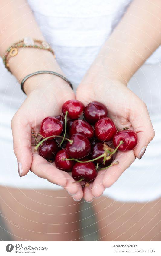 Cherries in my hand Cherry Healthy Eating Dish Food photograph Fruit Summer Accumulate Hand To hold on Fingers Bracelet Woman Exterior shot