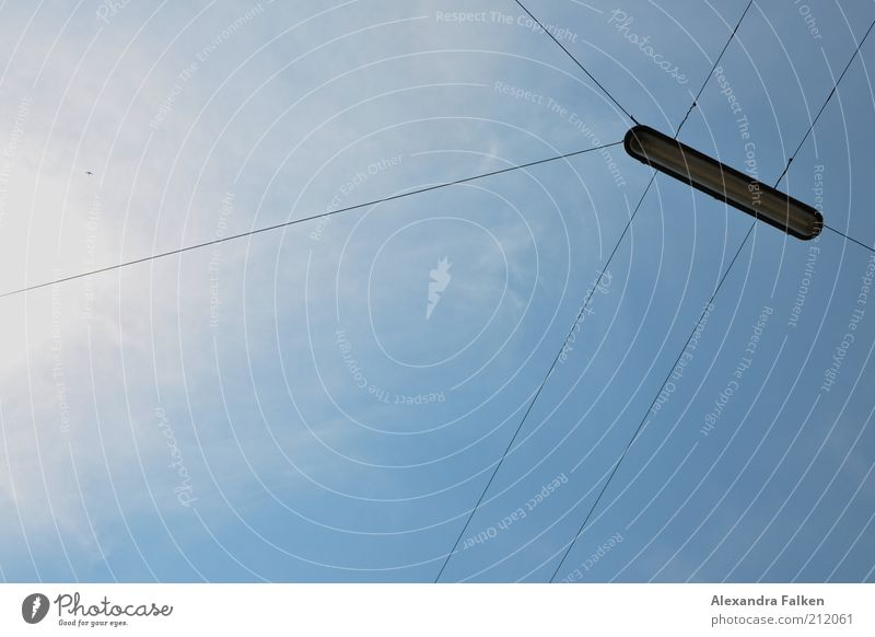 Sky Clouds Lamp Air Lighting Electricity Cable Wire Street lighting Transmission lines Hold Blue sky Awareness Bracket Skyward