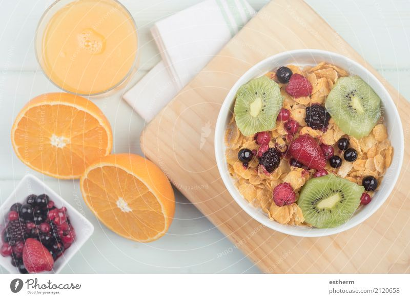 healthy breakfast Food Fruit Orange Grain Nutrition Beverage Lemonade Juice Crockery Bowl Mug Lifestyle Healthy Eating Overweight Wellness Diet To feed Feeding