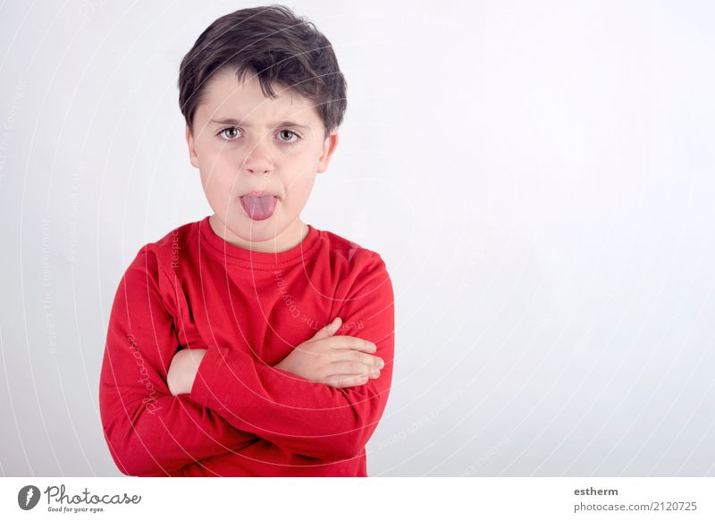 Rude boy sticking out his tongue Human being Masculine Child Toddler Boy (child) 1 3 - 8 years Infancy Aggression Anger Pain Disappointment Loneliness Shame