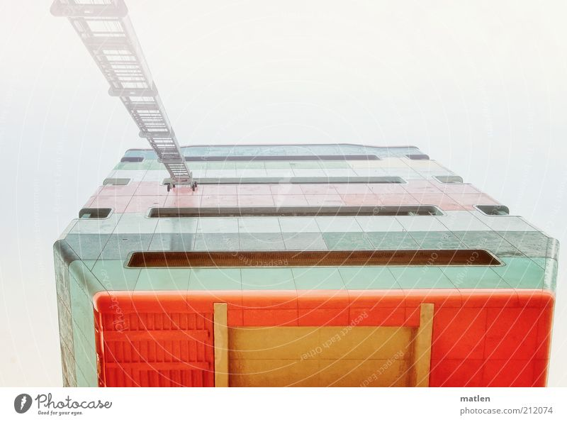 cloud cuckoo home Deserted High-rise Tower Facade Landmark Concrete Metal Steel Sharp-edged Red White Ladder Hover Multicoloured Exterior shot Copy Space top