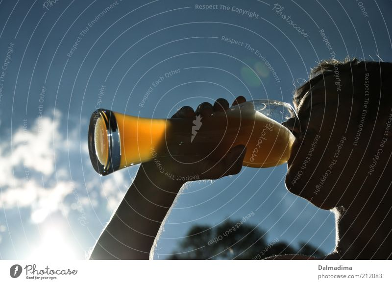 Human being Man Youth (Young adults) Summer Head Adults Glass Masculine Beverage Drinking Beer To enjoy Alcoholic drinks Blue sky Alcoholism Profile