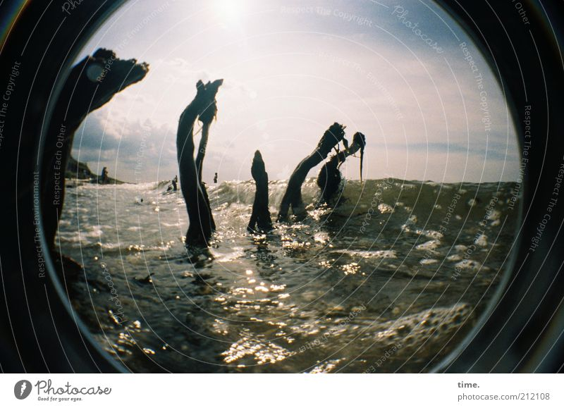 Dance of the water spirits Wood Ocean Washed out Waves Air bubble Water Damp Wet Ogre Monster Fisheye Sky Washer Beach Coast Ghosts & Spectres  Ghostly Direct