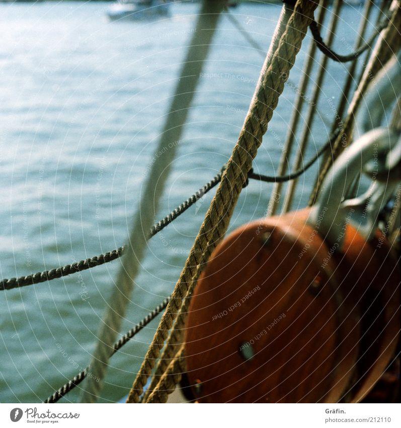 On sailors... Harbour Navigation Sailing ship Rope On board training ship bark Blue Brown Wanderlust Adventure Mobility Nostalgia Tourism Tradition Wood Shrouds