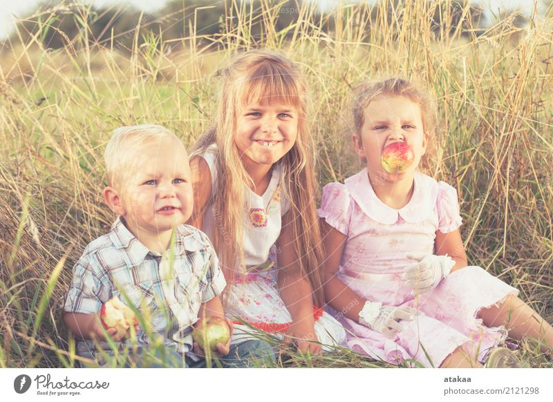 Happy brother and two sisters playing in park at the day time. Human being Child Nature Vacation & Travel Summer Beautiful Joy Lifestyle Love Emotions