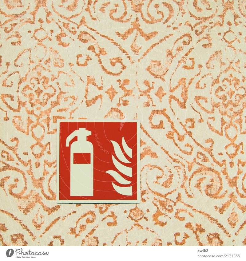 firewall Wall (barrier) Wall (building) Wallpaper Wallpaper pattern Pictogram Plastic Sign Extinguisher Simple Retro Yellow Orange Red Responsibility