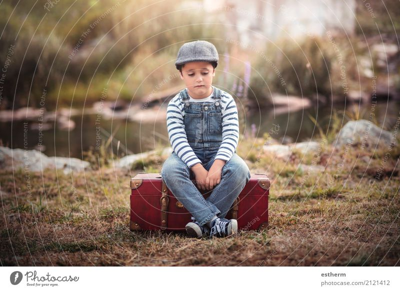 Sad child Vacation & Travel Adventure Freedom Human being Masculine Child Toddler Boy (child) Infancy 1 3 - 8 years Field Forest Lake Suitcase Cap Sit Sadness