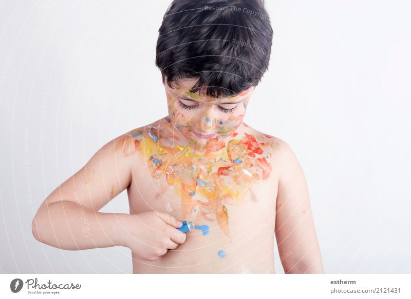 Child with painted body Human being Joy Lifestyle Emotions Boy (child) Playing Art Masculine Dirty Infancy Smiling Happiness To enjoy Adventure Curiosity