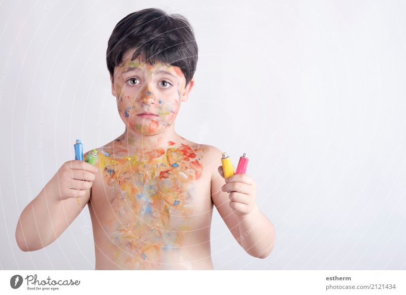 boy with face painting Human being Child Blue Colour Green Yellow Lifestyle Emotions Boy (child) Playing Party Masculine Dirty Infancy Happiness Adventure