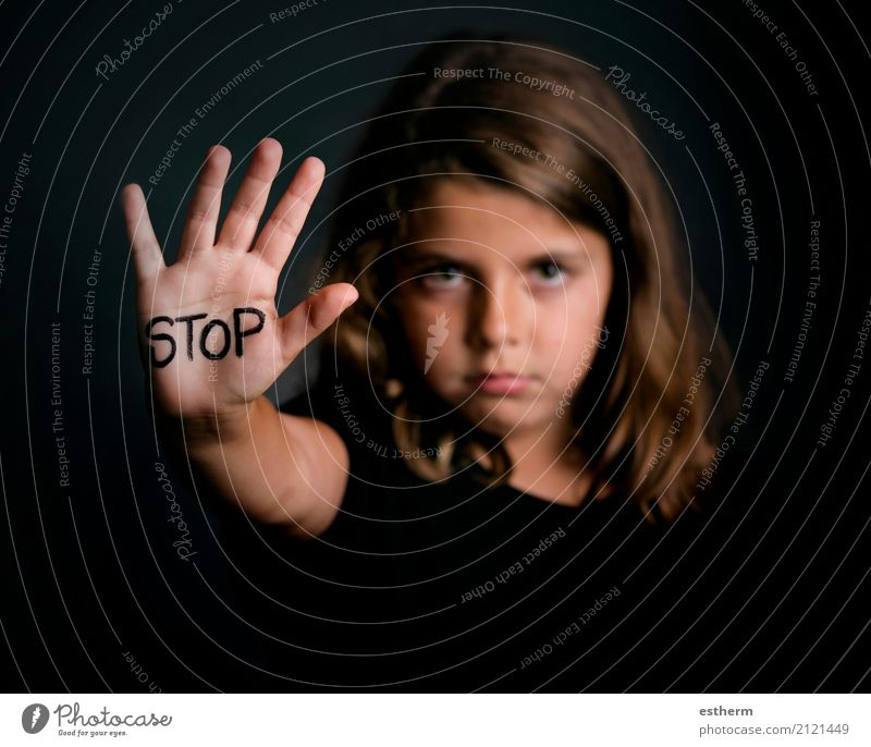 Angry girl showing hand signaling to stop violence Human being Child Girl Sadness Feminine Fear Infancy Dangerous Signage Grief Stress Force Distress Concern