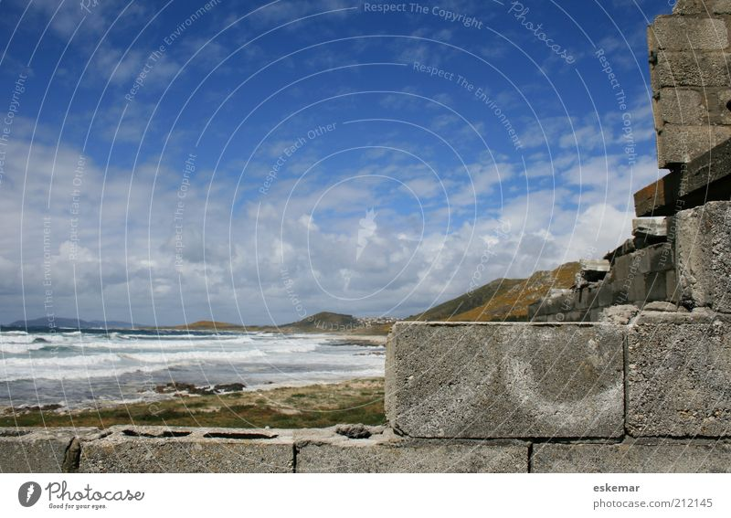 Beach Clouds House (Residential Structure) Wall (building) Coast Wall (barrier) Waves Authentic New Construction site Hill Beautiful weather Spain Build Surf