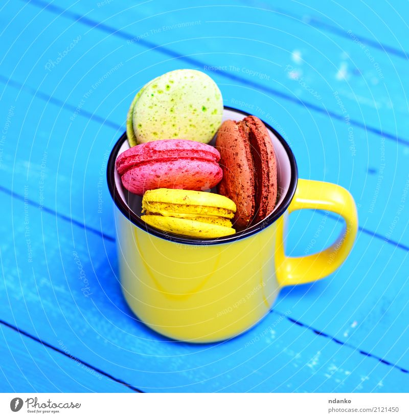 French cake Dessert Candy Cup Mug Table Gastronomy Wood Bright Delicious Above Blue Brown Yellow Green Pink Tradition colorful background Macaron sweet