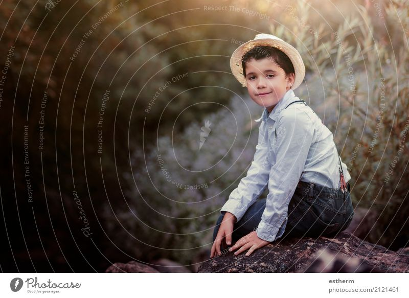 Happy child in the field Human being Child Nature Vacation & Travel Joy Forest Lifestyle Emotions Boy (child) Freedom Leisure and hobbies Contentment Masculine