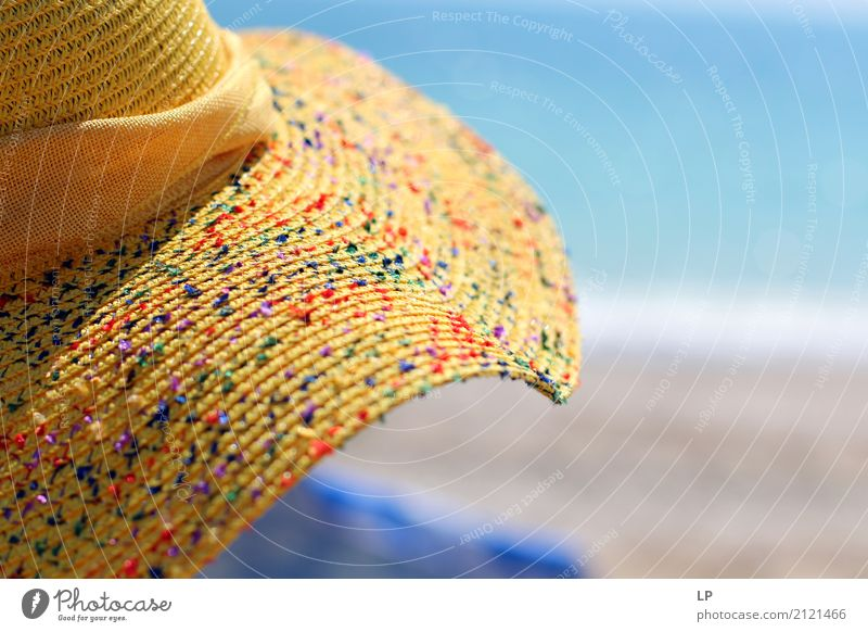 yellow hat and blue sea Human being Vacation & Travel Sun Ocean Relaxation Calm Joy Far-off places Beach Lifestyle Emotions Style Freedom Tourism Contentment