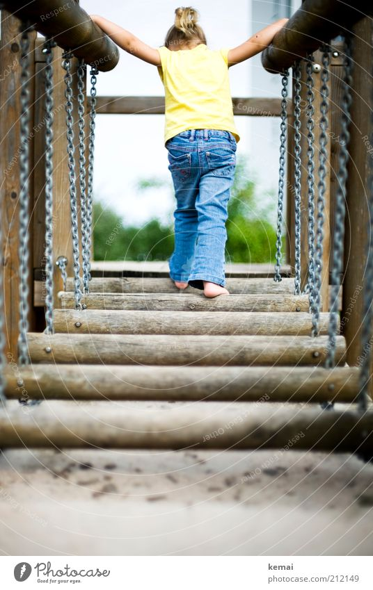 Human being Blue Girl Joy Yellow Playing Legs Feet Infancy Blonde Back Arm Adventure Bridge Jeans To hold on
