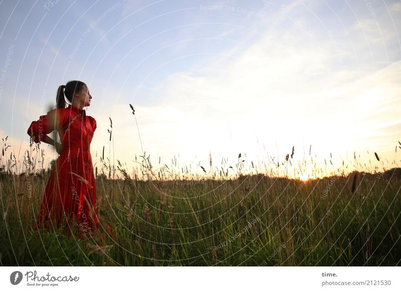 Human being Woman Sky Beautiful Relaxation Clouds Far-off places Adults Life Emotions Meadow Feminine Horizon Contentment Field Stand
