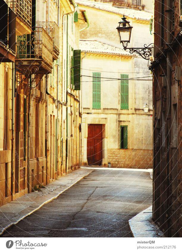 siesta. Street Esthetic Mediterranean Majorca Soller Alley Spain Gold Lantern Siesta Housefront Vacation & Travel Vacation mood Peaceful Relaxation