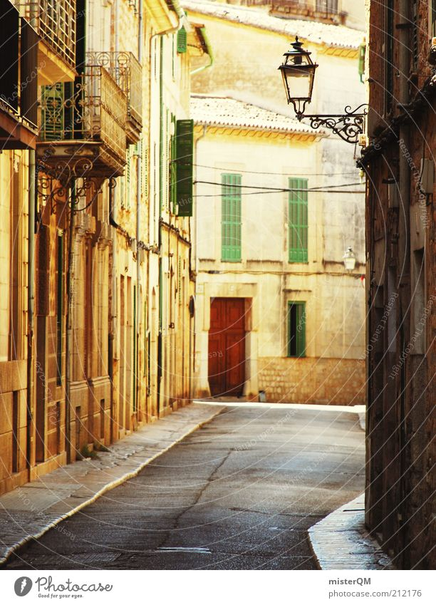 Vacation & Travel Calm Relaxation Street Gold Esthetic Beautiful weather Lantern Narrow Spain Alley Wanderlust Majorca Abstract Siesta