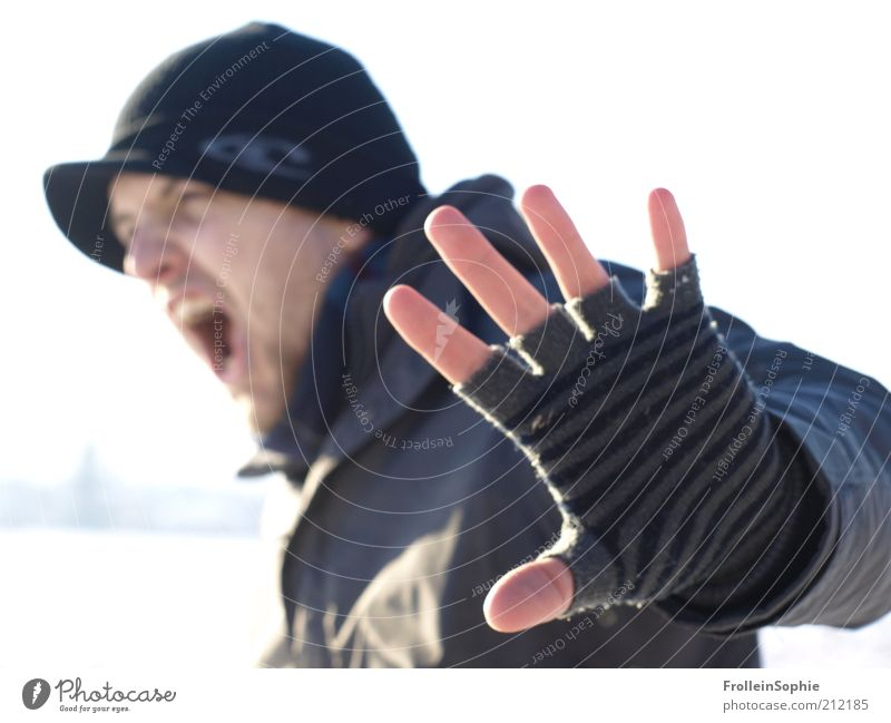 stop. Winter Human being Masculine Young man Youth (Young adults) 1 18 - 30 years Adults Snow Gloves Cap Facial hair Scream Argument Aggression Rebellious Anger