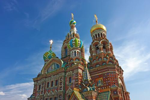Cathedral in Russia Tourism Sky Church Dome Architecture Landmark Bright Historic Blue Colour Orthodox christians russian cathedral st. history famous Crucifix