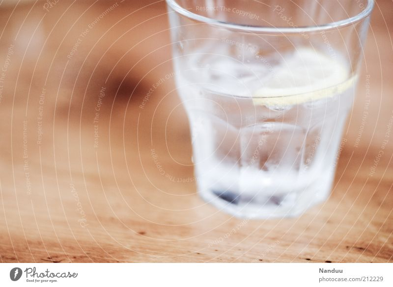 Cold Wood Glass Fresh Drinking water Beverage Refreshment Water Detail Spirits Tumbler Tabletop Cold drink Condensation Chilled Slice of lemon