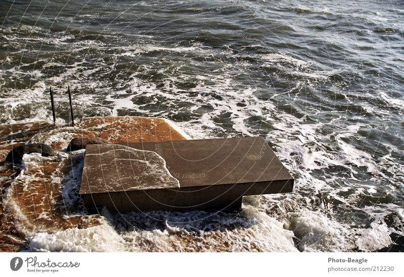 Water Vacation & Travel Ocean Cold Jump Lake Waves Wet Concrete Schleswig-Holstein Freeze Baltic Sea Bad weather Nature Springboard Platform