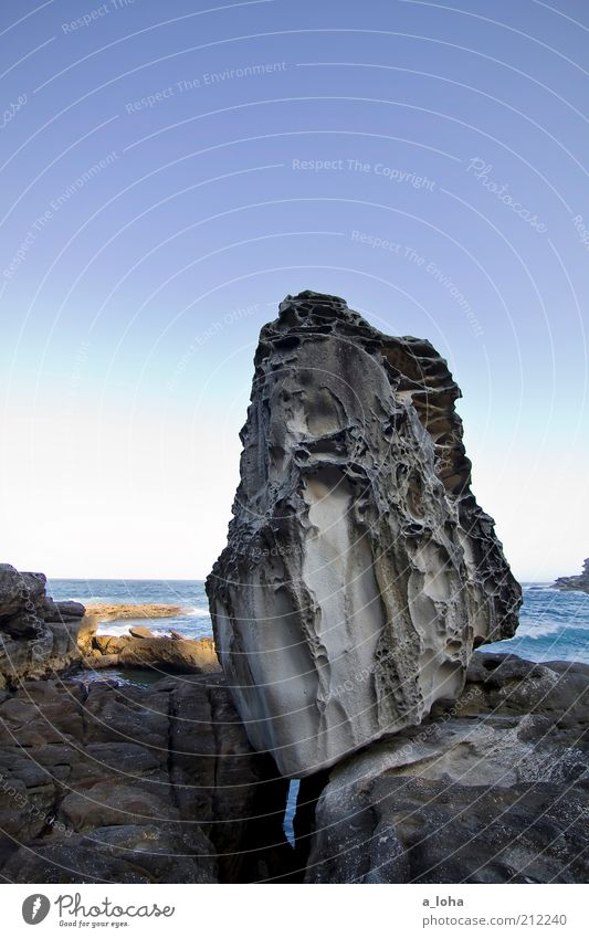 the 'pippo-stein' Summer Ocean Landscape Elements Water Cloudless sky Beautiful weather Rock Coast Reef Stone Exceptional Sharp-edged Firm Natural Point Power