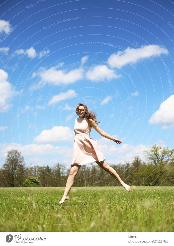 Human being Woman Sky Beautiful Clouds Forest Adults Life Spring Meadow Movement Feminine Jump Free Field Dance