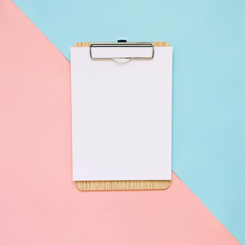 Blank clipboard on pastel color background Blue Colour White Art Business Pink Design Copy Space Office Modern Creativity Idea Paper Hip & trendy Tone