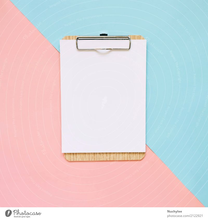 Blank clipboard on pastel color background Design Office Business Art Paper Hip & trendy Modern Blue Pink White Colour Idea Creativity lay flat Minimal square